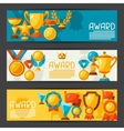 Sport or business banners with award icons vector image vector image