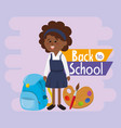 student girl with backpack and paintbrush vector image vector image