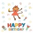 Stylish Happy birthday card with cute monkey vector image