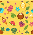 summer seamless pattern with seasonal food and vector image vector image