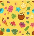 summer seamless pattern with seasonal food vector image