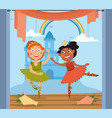 two cute little girls dancing in a ballet vector image
