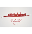 Valladolid skyline in red vector image vector image