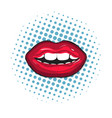 red female lips closeup colorful retro on pop-art vector image