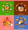 fast food 4 flat icons square vector image