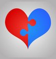 2 red blue piece puzzle heart valentines day love vector image