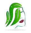 abstract woman head with natural leafs logo vector image
