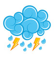 blue cloud lightning raindrops cartoon image vector image vector image