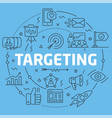 blue line flat circle targeting vector image vector image