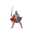 brave knight in gray metal armor and helmet is vector image