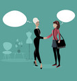 businesswoman and intern girl shaking hands vector image