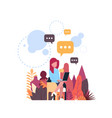 businesswoman chat bubbles icon hold laptop vector image