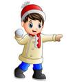 cartoon boy throwing snowba vector image vector image