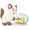 Cartoon curious cat with swimming fish