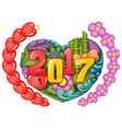 cartoon doodles hand drawn 2017 year with symbol a vector image vector image