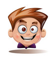 cartoon head boy funny smiley vector image vector image