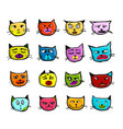 cat faces sketch for your design vector image vector image