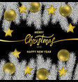 christmas and new year card with gold lettering vector image vector image