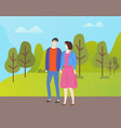 couple in casual cloth spend time together outdoor vector image vector image