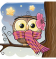 cute owl on a brunch vector image