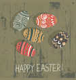 easter eggs on wooden board happy easter vector image vector image