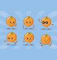 emotions kawaii fruits vector image