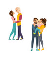 flat adult couples and kids hugging set vector image
