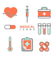flat medical icons concept set medical supplies vector image vector image
