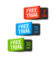 Free Trial labels vector image vector image