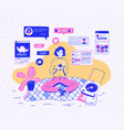 girl sitting at home holding mobile phone and vector image vector image