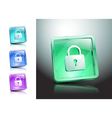 glass icons set green lock security vector image