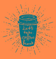hand drawn coffee cup with vintage sun burst vector image vector image