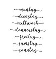 hand lettered days week in german vector image vector image