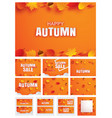 happy autumn fall set invitation and sale paper vector image