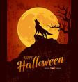 happy halloween howling wolf on moon vector image