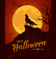 happy halloween howling wolf on the moon vector image