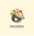 home kitchen logo with pot full vegetables vector image vector image