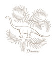 huge herbivorous dinosaur surrounded with palm vector image