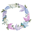 Lilac wreath and birds vector image vector image