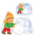 Little boy making snow fort vector image