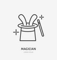 magician line icon logo for vector image vector image