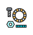 metal parts washers with bolts and bearings flat vector image