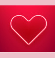 neon glowing heart happy valentines day banner vector image