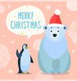 polar bear and emperor penguin greeting card vector image