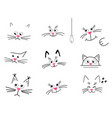 set faces cute cats on a white background vector image