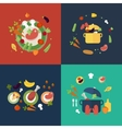 Set of flat design concept icons for food and vector image vector image