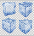 set of transparent blue ice cube vector image vector image