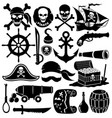 set pirate icons vector image vector image