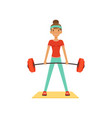 sportive young woman character lifting barbell vector image vector image
