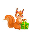 squirrel animal with gift box cartoon character vector image